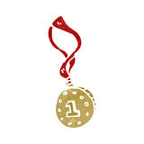retro cartoon winners medal Royalty Free Stock Images