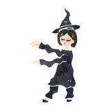 retro cartoon witch casting spell Royalty Free Stock Image