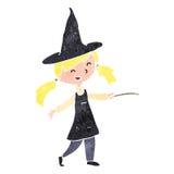 Retro cartoon witch girl Stock Image