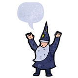 retro cartoon wizard casting spell Stock Photos