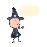 Retro cartoon wizard casting spell Stock Photos