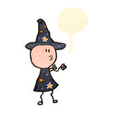 Retro cartoon wizard casting spell Royalty Free Stock Images