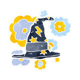 Retro cartoon wizard hat Stock Images