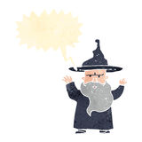 Retro cartoon wizard with thought bubble Royalty Free Stock Photography