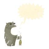 retro cartoon wolf drinking beer Stock Photography
