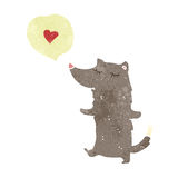 retro cartoon wolf in love Stock Images