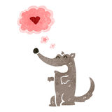 retro cartoon wolf in love Royalty Free Stock Photo