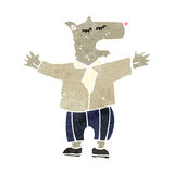 Retro cartoon wolf in man's clothing Royalty Free Stock Image