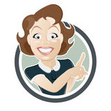 Retro cartoon woman. Is pointing with finger Royalty Free Stock Images
