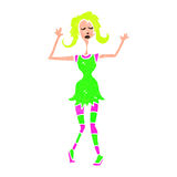 retro cartoon woman dancing Royalty Free Stock Photography