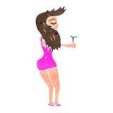 retro cartoon woman dancing Stock Images