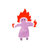 Retro cartoon woman on fire symbol. Retro cartoon illustration. On plain white background Stock Image