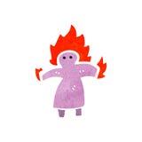 Retro cartoon woman on fire symbol Stock Image