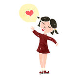 Retro cartoon woman in love Royalty Free Stock Images