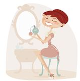 Retro cartoon woman with perfume Stock Image