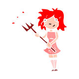 retro cartoon woman with pitchfork Royalty Free Stock Photos