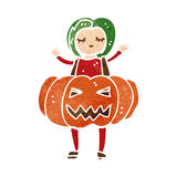 Retro cartoon woman in pumpkin costume Royalty Free Stock Photo