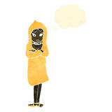 Retro cartoon woman in raincoat Stock Photography