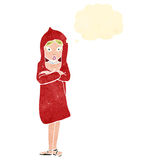 Retro cartoon woman in red coat Royalty Free Stock Image