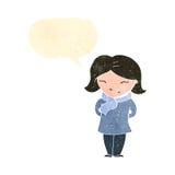 Retro cartoon woman with speech bubble wearing scarf Royalty Free Stock Photo