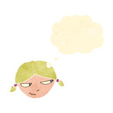 Retro cartoon woman with thought bubble Stock Photography