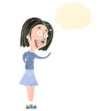 Retro cartoon woman with thought bubble Stock Images