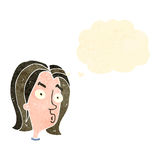Retro cartoon woman with thought bubble Royalty Free Stock Photography
