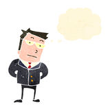 Retro cartoon worried businessman man Stock Images