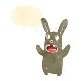 retro cartoon zombie bunny rabbit with thought bubble Royalty Free Stock Photo