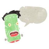 retro cartoon zombie head with speech bubble Stock Images