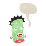 retro cartoon zombie head with speech bubble Stock Photography