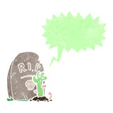 Retro cartoon zombie rising from grave Royalty Free Stock Images