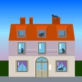 Retro casa con l'illustrazione piana dei gatti Immagine Stock Libera da Diritti