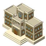 Retro casa grigia isometrica Immagini Stock