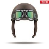 Retro casco del pilota dell'aviatore con gli occhiali di protezione Fotografia Stock Libera da Diritti