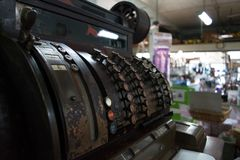 Retro cash register. Original cash register still in use in old hardware store in Natchitoches Louisiana. are the old ways better sometimes Stock Photos