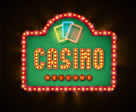 Retro casino glowing lamp banner eps 10 Stock Image