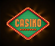 Retro casino glowing lamp banner eps 10 Stock Photo