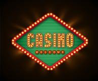 Retro casino glowing lamp banner eps 10 Stock Photo