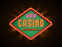 Retro casino glowing lamp banner eps 10 Royalty Free Stock Photography
