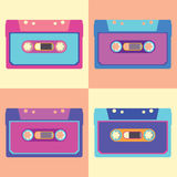 Retro cassette in flat style. Set of illustrations. Royalty Free Stock Photos