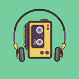 Retro Cassette Player Flat Style Vector Icon. stock illustration