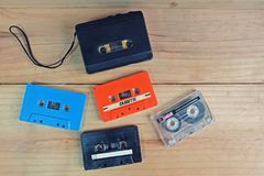 Retro cassette tape Colorful and Portable tape player stock photography