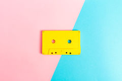 Retro cassette tapes on bright background. Retro cassette tapes on a bright duotone background Royalty Free Stock Images
