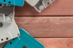 Retro Cassette tapes on wooden royalty free stock photography
