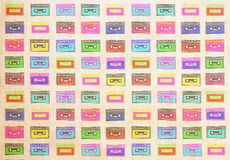 Retro cassettes grunge texture Stock Images