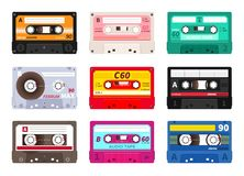 Retro cassettes. Vintage 1980s music tape, dj rave party mix, realistic stereo record set. Vector old school music royalty free illustration