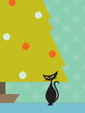 Retro cat Christmas tree Stock Photo