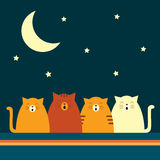 Retro cat quartet Stock Image