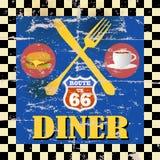 Retro cena dell'itinerario 66 Fotografie Stock Libere da Diritti